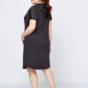 Activezone Gray Hooded Mesh Dress Plus Size Active